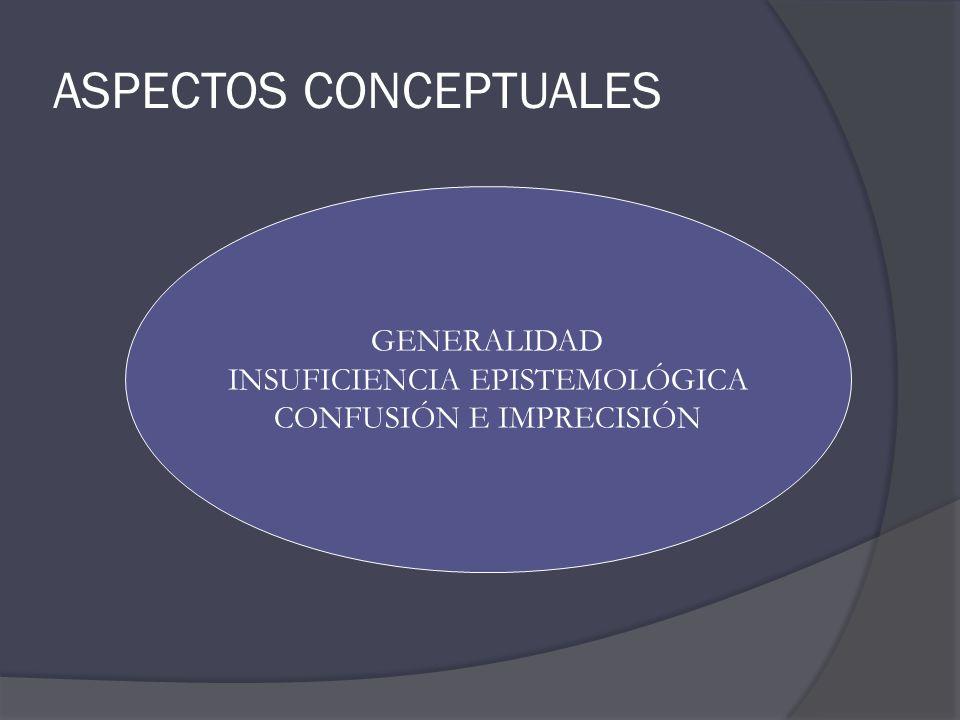 ASPECTOS CONCEPTUALES GENERALIDAD INSUFICIENCIA EPISTEMOLÓGICA CONFUSIÓN E IMPRECISIÓN