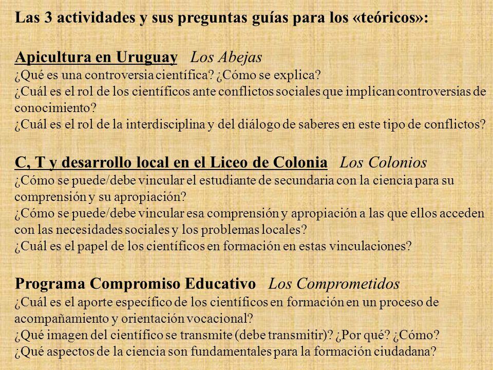 Las 3 actividades y sus preguntas guías para los «teóricos»: Apicultura en Uruguay Los Abejas ¿Qué es una controversia científica.