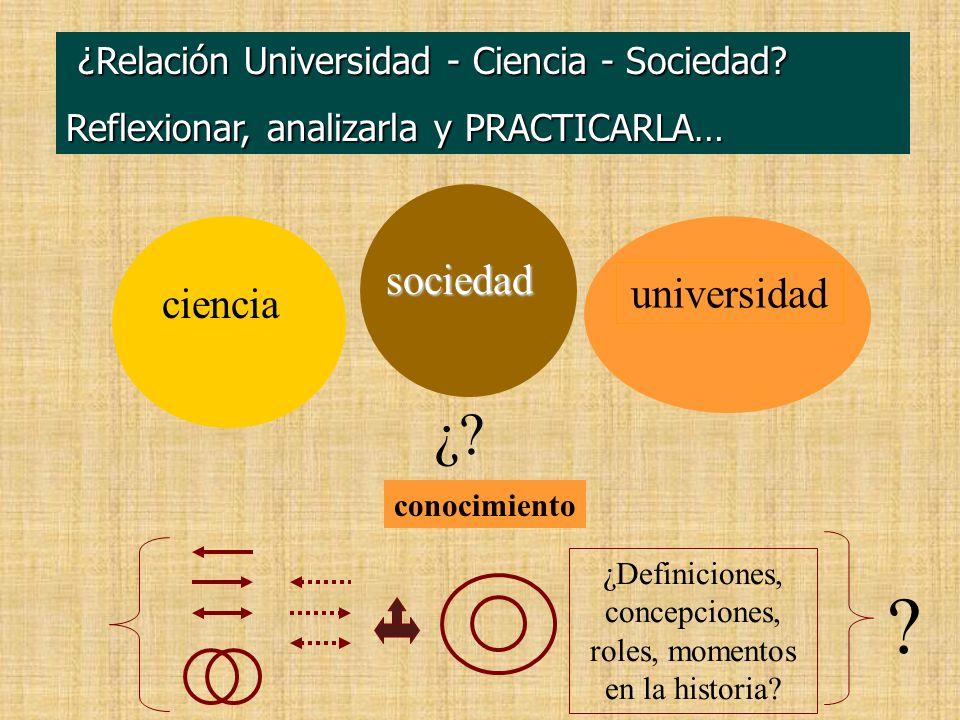 ¿Relación Universidad - Ciencia - Sociedad. ¿Relación Universidad - Ciencia - Sociedad.