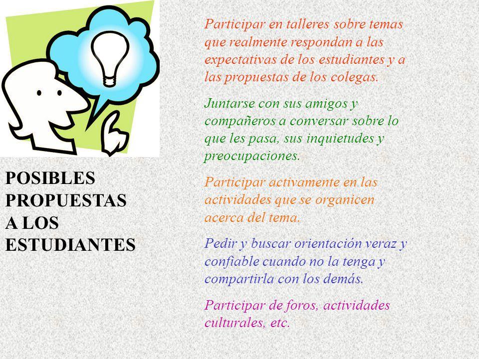 Participar en talleres sobre temas que realmente respondan a las expectativas de los estudiantes y a las propuestas de los colegas.