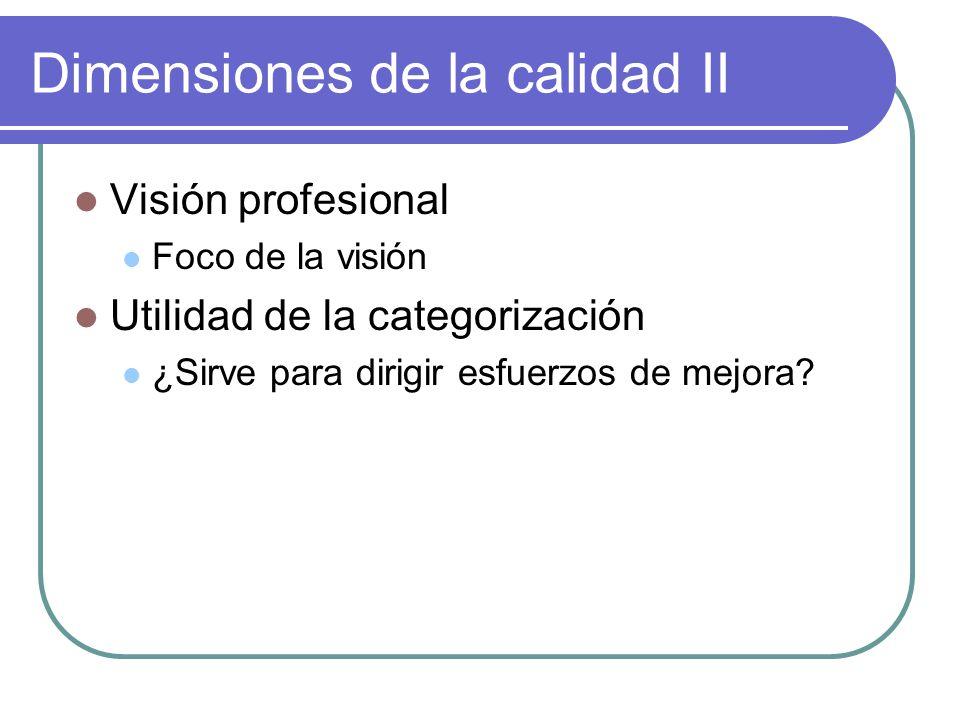Dimensiones de la calidad II Visión profesional Foco de la visión Utilidad de la categorización ¿Sirve para dirigir esfuerzos de mejora?