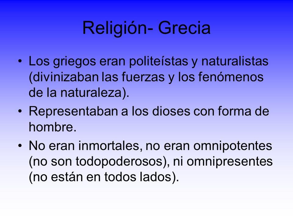 Religión- Grecia Los griegos eran politeístas y naturalistas (divinizaban las fuerzas y los fenómenos de la naturaleza). Representaban a los dioses co