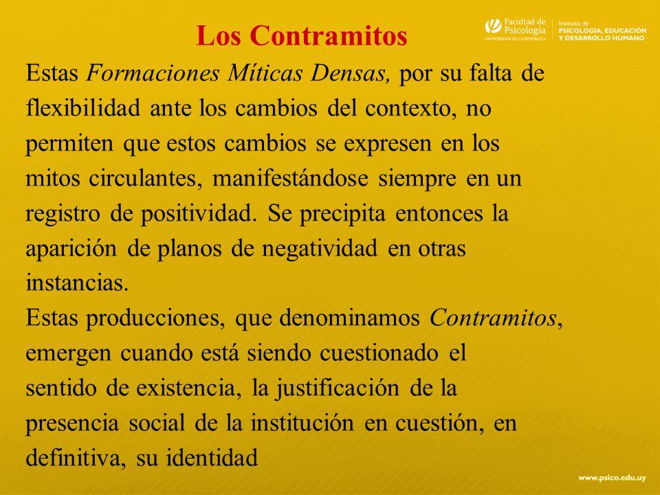 Los Contramitos Estas Formaciones Míticas Densas, por su falta de flexibilidad ante los cambios del contexto, no permiten que estos cambios se exprese