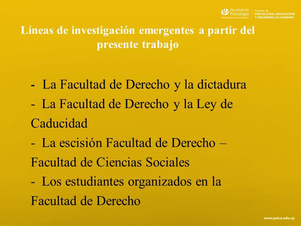 Líneas de investigación emergentes a partir del presente trabajo - La Facultad de Derecho y la dictadura -La Facultad de Derecho y la Ley de Caducidad