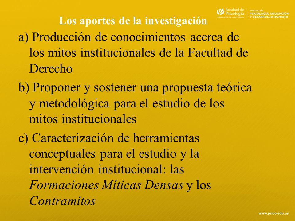 Los aportes de la investigación a) Producción de conocimientos acerca de los mitos institucionales de la Facultad de Derecho b) Proponer y sostener un