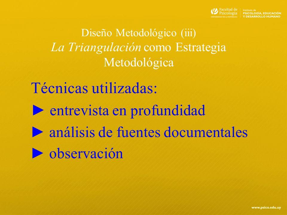 Diseño Metodológico (iii) La Triangulación como Estrategia Metodológica Técnicas utilizadas: entrevista en profundidad análisis de fuentes documentale