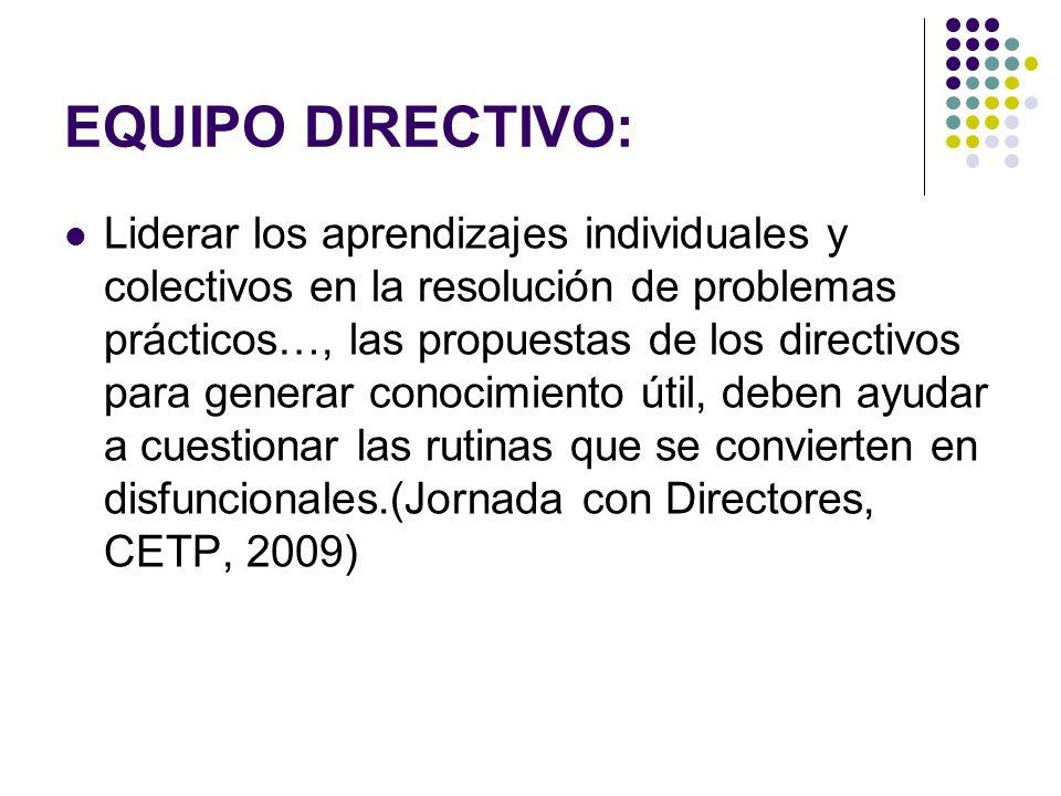 EQUIPO DIRECTIVO: Liderar los aprendizajes individuales y colectivos en la resolución de problemas prácticos…, las propuestas de los directivos para g