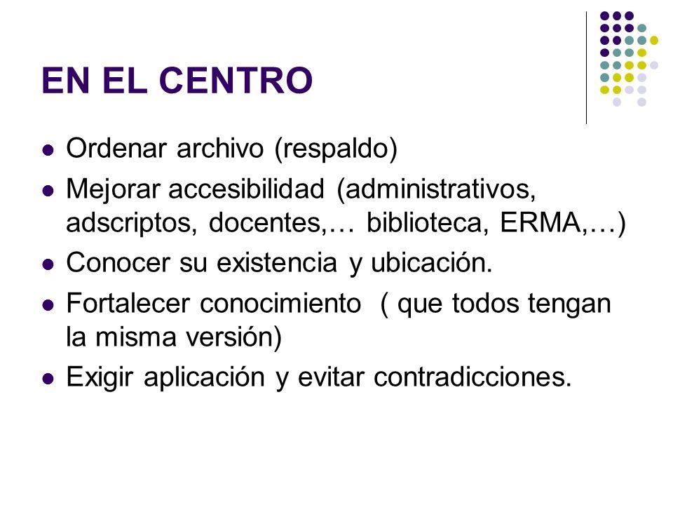 EN EL CENTRO Ordenar archivo (respaldo) Mejorar accesibilidad (administrativos, adscriptos, docentes,… biblioteca, ERMA,…) Conocer su existencia y ubi