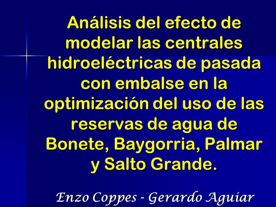 OBJETIVOS El objetivo de este estudio es analizar el efecto de modelar con embalse las centrales hidroeléctricas de pasada Palmar, Baygorria y Salto Grande en la coordinación Hidrotérmica del Sistema Eléctrico Uruguayo.