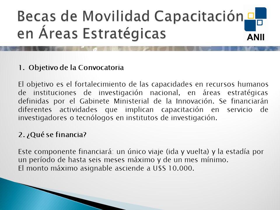 Movilidad 1.Objetivo de la Convocatoria El objetivo es el fortalecimiento de las capacidades en recursos humanos de instituciones de investigación nacional, en áreas estratégicas definidas por el Gabinete Ministerial de la Innovación.