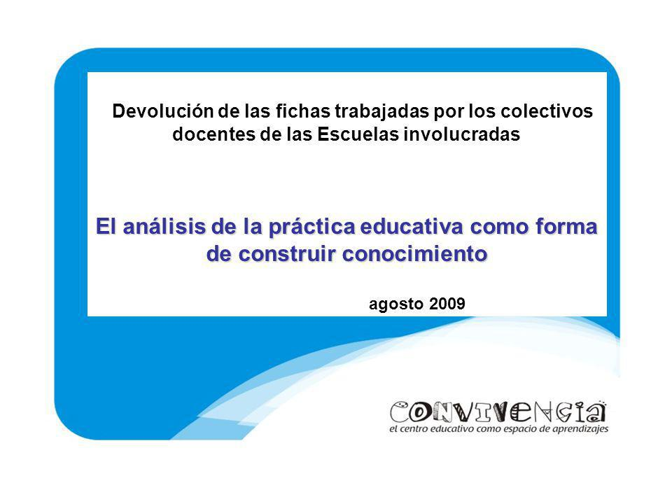 Devolución de las fichas trabajadas por los colectivos docentes de las Escuelas involucradas El análisis de la práctica educativa como forma de constr