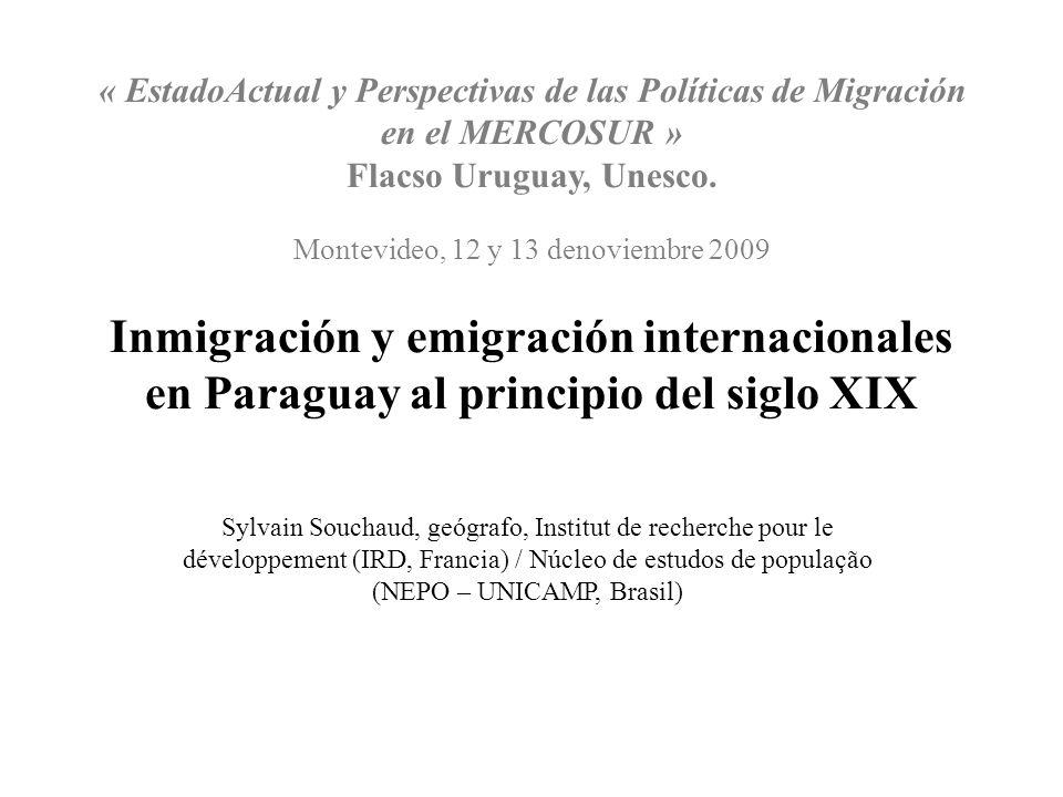 « EstadoActual y Perspectivas de las Políticas de Migración en el MERCOSUR » Flacso Uruguay, Unesco. Montevideo, 12 y 13 denoviembre 2009 Inmigración