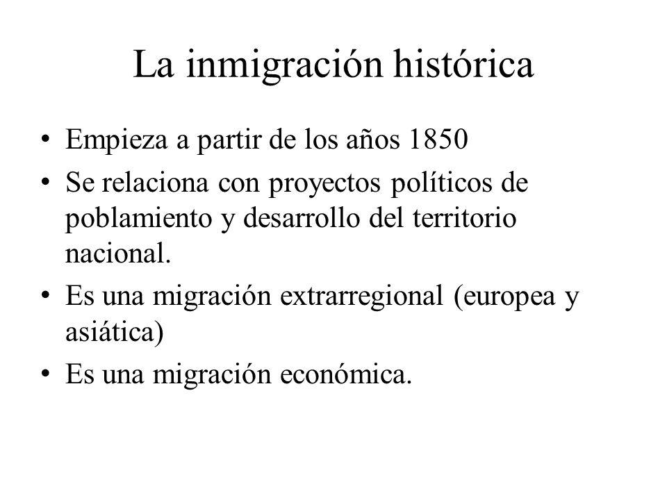 La inmigración histórica Empieza a partir de los años 1850 Se relaciona con proyectos políticos de poblamiento y desarrollo del territorio nacional. E