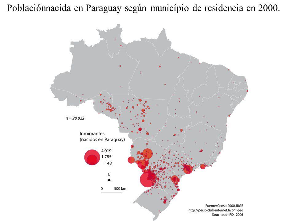 Poblaciónnacida en Paraguay según município de residencia en 2000.