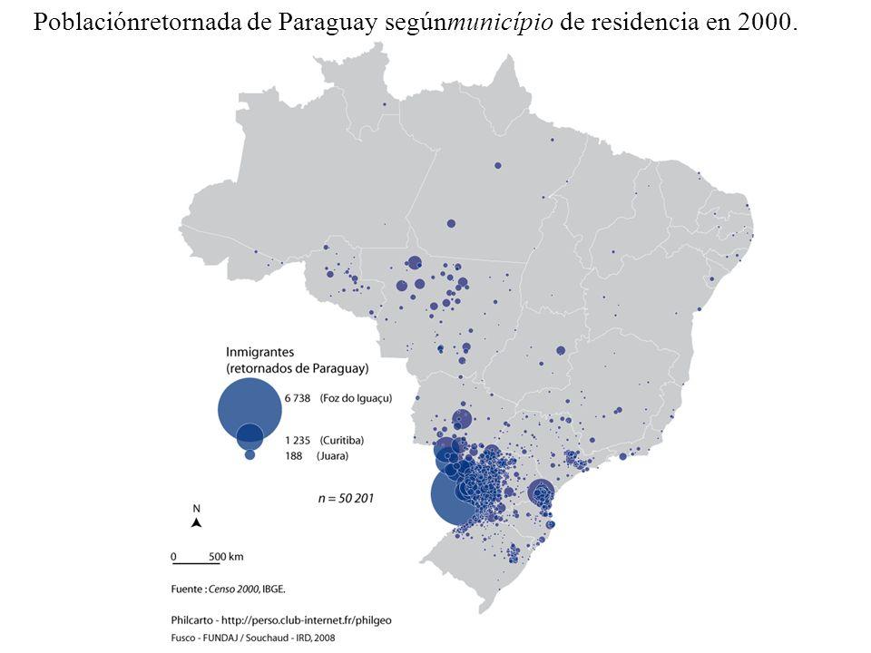 Poblaciónretornada de Paraguay segúnmunicípio de residencia en 2000.