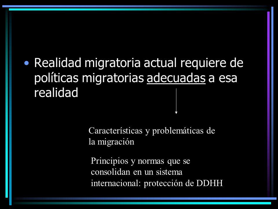 Realidad migratoria actual requiere de políticas migratorias adecuadas a esa realidad Características y problemáticas de la migración Principios y normas que se consolidan en un sistema internacional: protección de DDHH
