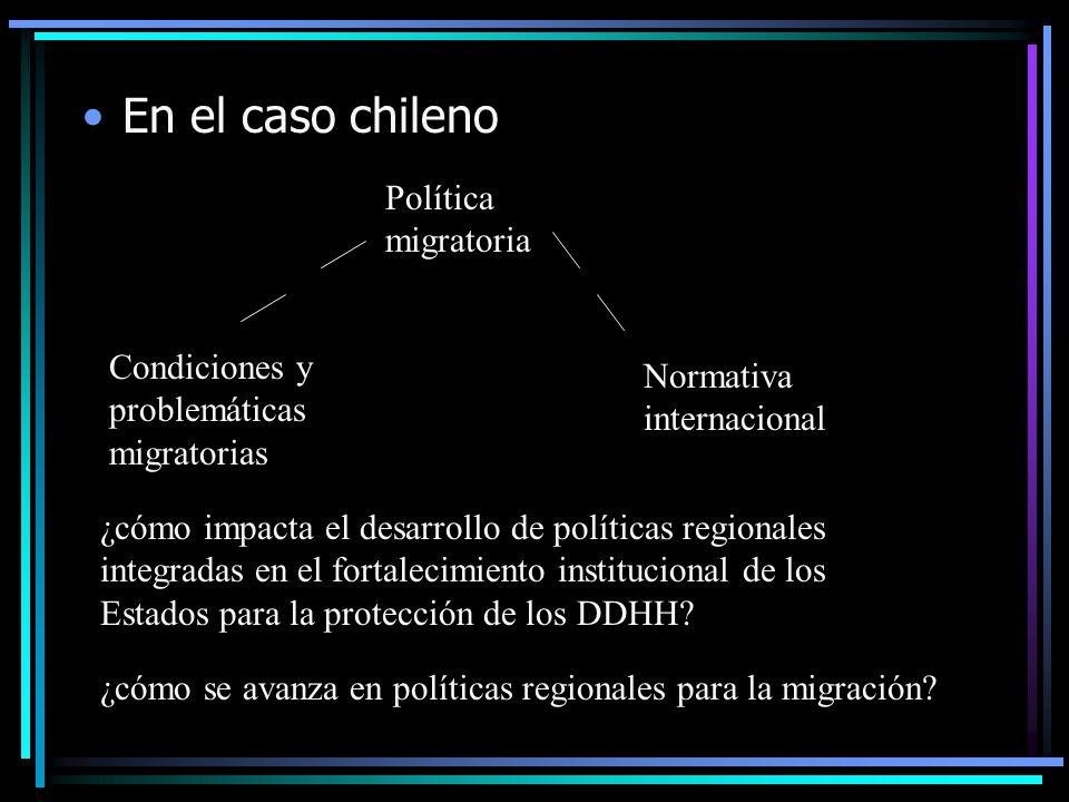 En el caso chileno Política migratoria Condiciones y problemáticas migratorias Normativa internacional ¿cómo impacta el desarrollo de políticas regionales integradas en el fortalecimiento institucional de los Estados para la protección de los DDHH.