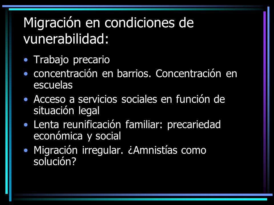 En migración sectores medios y profesionales Integración al mercado laboral (sector salud) Migración familiar No hay concentración en barrios
