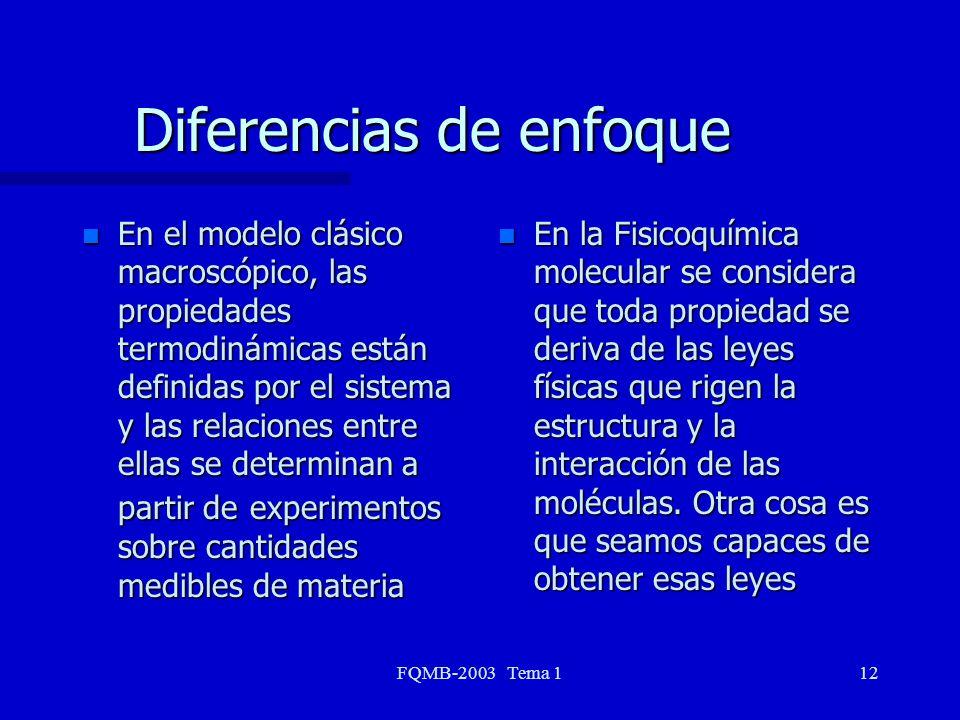 FQMB-2003 Tema 112 Diferencias de enfoque n En la Fisicoquímica molecular se considera que toda propiedad se deriva de las leyes físicas que rigen la