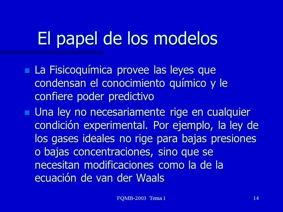 FQMB-2003 Tema 114 El papel de los modelos n La Fisicoquímica provee las leyes que condensan el conocimiento químico y le confiere poder predictivo n
