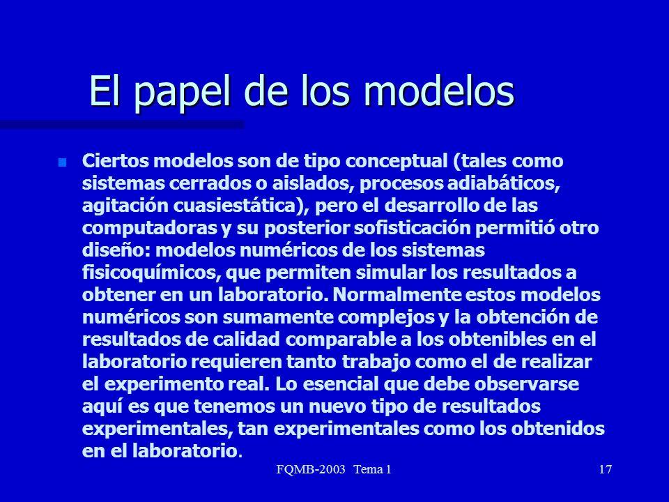 FQMB-2003 Tema 117 El papel de los modelos n n Ciertos modelos son de tipo conceptual (tales como sistemas cerrados o aislados, procesos adiabáticos,