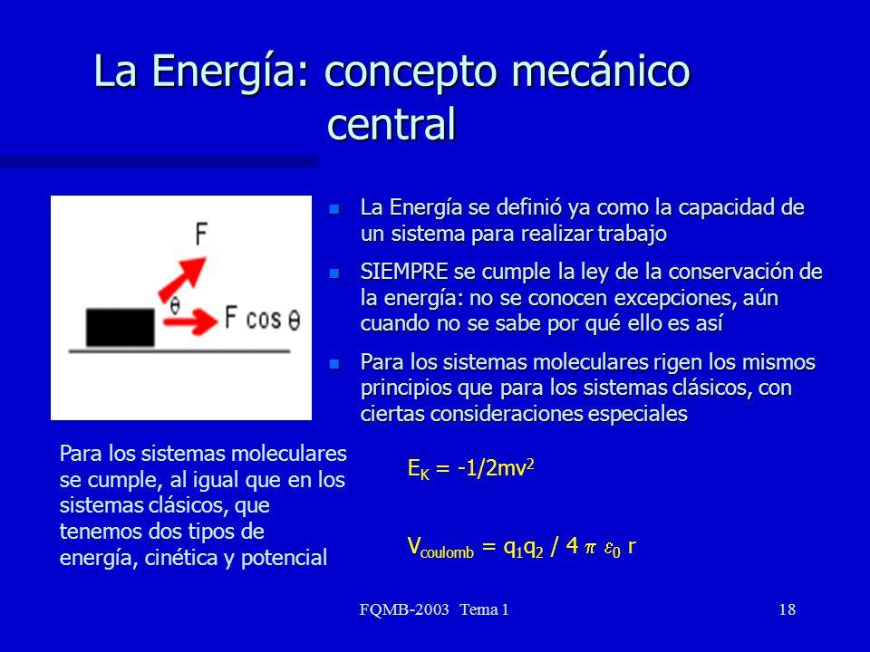 FQMB-2003 Tema 118 La Energía: concepto mecánico central n La Energía se definió ya como la capacidad de un sistema para realizar trabajo n SIEMPRE se