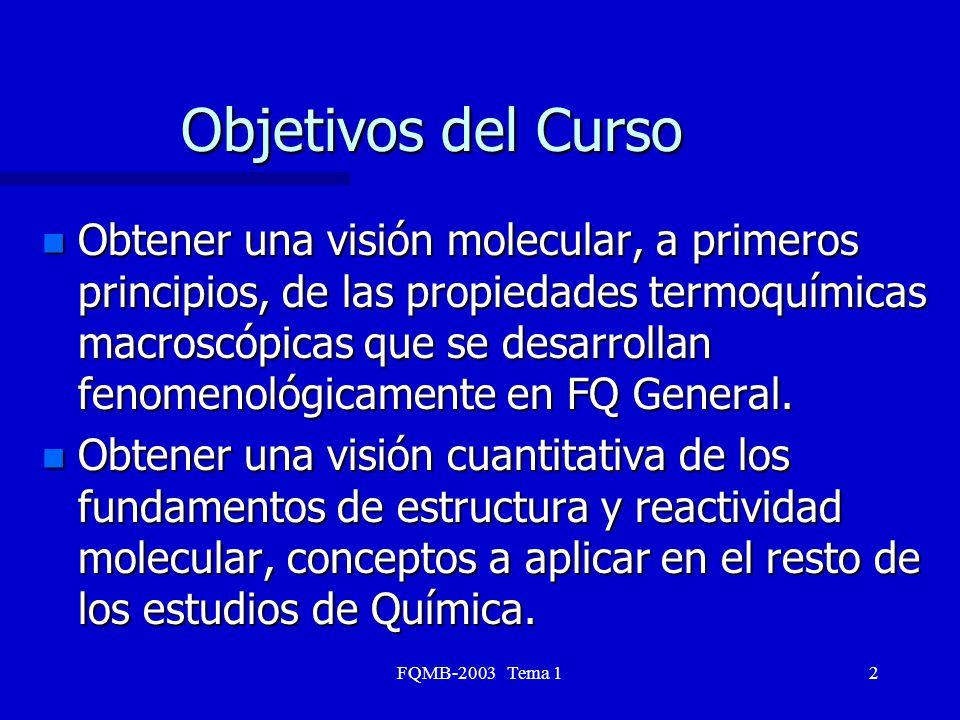 FQMB-2003 Tema 12 Objetivos del Curso n Obtener una visión molecular, a primeros principios, de las propiedades termoquímicas macroscópicas que se des