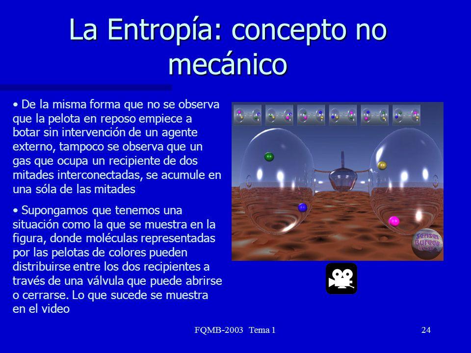 FQMB-2003 Tema 124 La Entropía: concepto no mecánico De la misma forma que no se observa que la pelota en reposo empiece a botar sin intervención de u