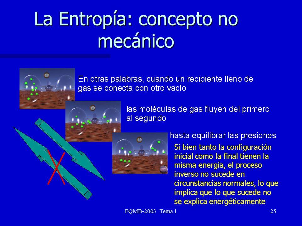 FQMB-2003 Tema 125 La Entropía: concepto no mecánico Si bien tanto la configuración inicial como la final tienen la misma energía, el proceso inverso