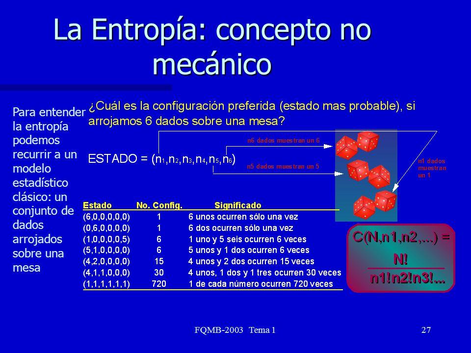 FQMB-2003 Tema 127 La Entropía: concepto no mecánico Para entender la entropía podemos recurrir a un modelo estadístico clásico: un conjunto de dados