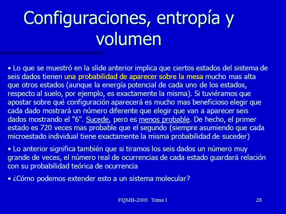FQMB-2003 Tema 128 Configuraciones, entropía y volumen Lo que se muestró en la slide anterior implica que ciertos estados del sistema de seis dados ti