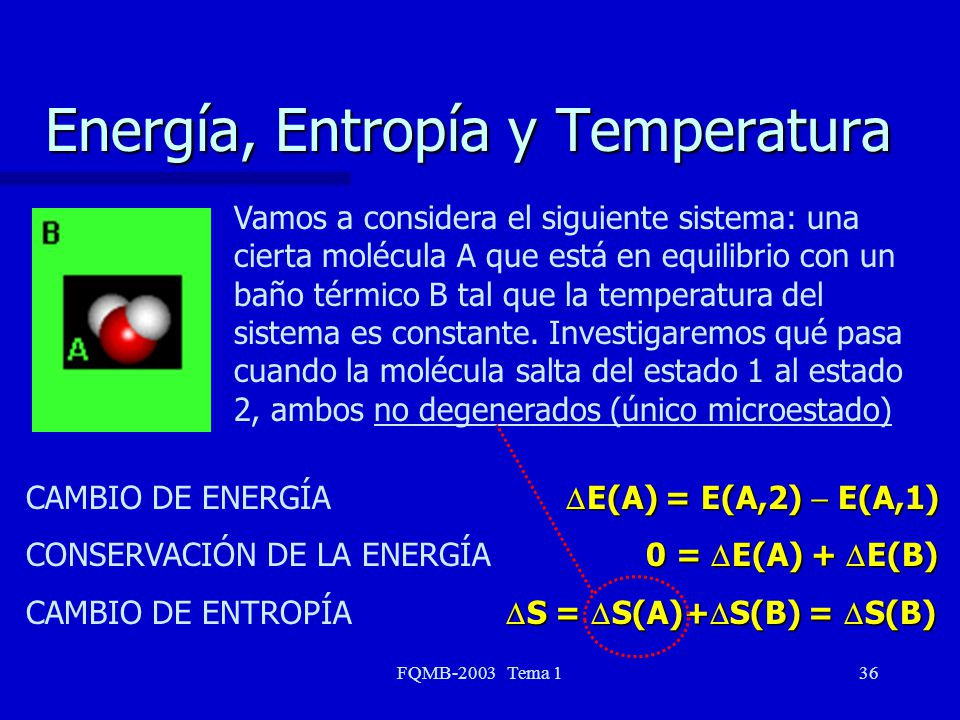 FQMB-2003 Tema 136 Energía, Entropía y Temperatura Vamos a considera el siguiente sistema: una cierta molécula A que está en equilibrio con un baño té