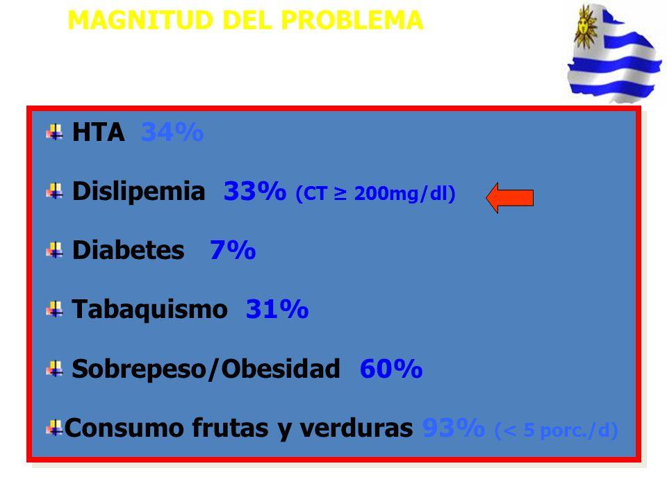 HTA 34% Dislipemia 33% (CT 200mg/dl) Diabetes 7% Tabaquismo 31% Sobrepeso/Obesidad 60% Consumo frutas y verduras 93% (< 5 porc./d) MAGNITUD DEL PROBLE