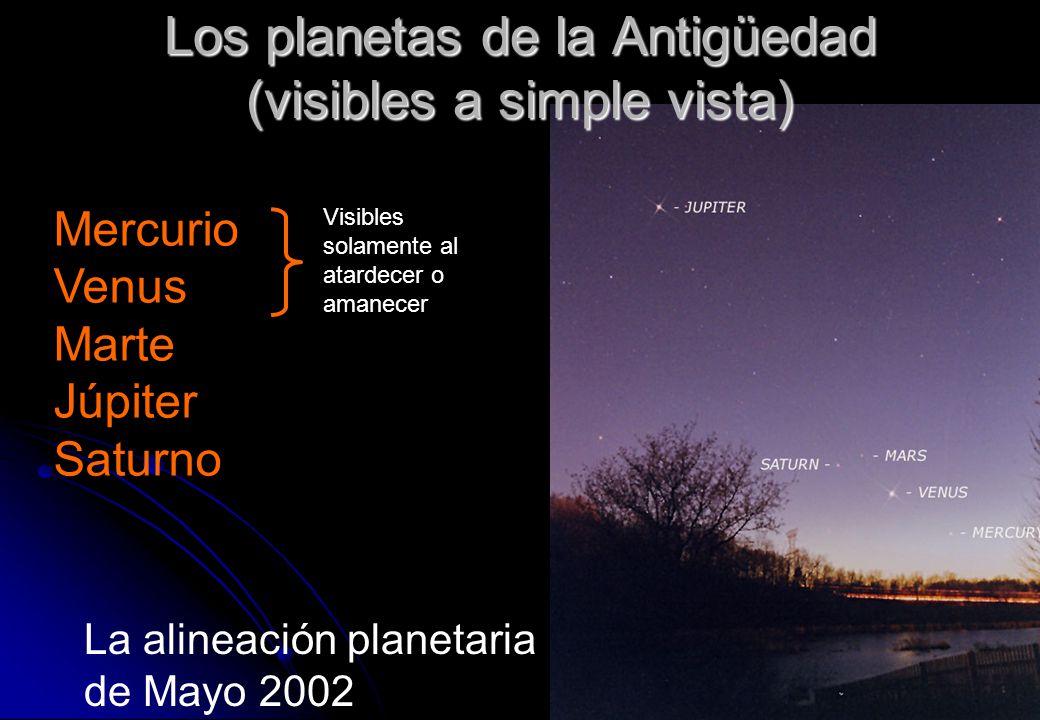 Los planetas de la Antigüedad (visibles a simple vista) La alineación planetaria de Mayo 2002 Mercurio Venus Marte Júpiter Saturno Visibles solamente
