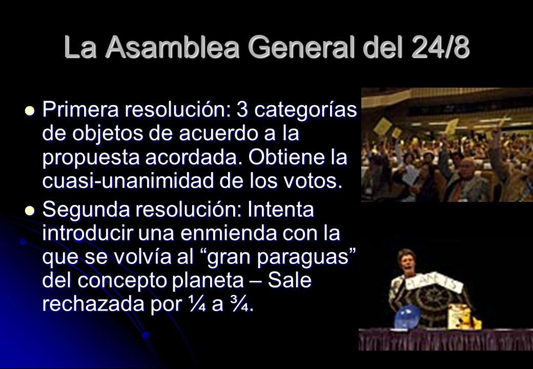 La Asamblea General del 24/8 Primera resolución: 3 categorías de objetos de acuerdo a la propuesta acordada. Obtiene la cuasi-unanimidad de los votos.