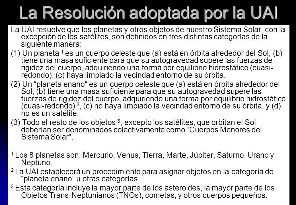 La Resolución adoptada por la UAI La UAI resuelve que los planetas y otros objetos de nuestro Sistema Solar, con la excepción de los satélites, son de