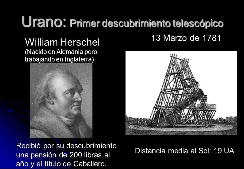 Urano: Primer descubrimiento telescópico 13 Marzo de 1781 Recibió por su descubrimiento una pensión de 200 libras al año y el título de Caballero. Dis