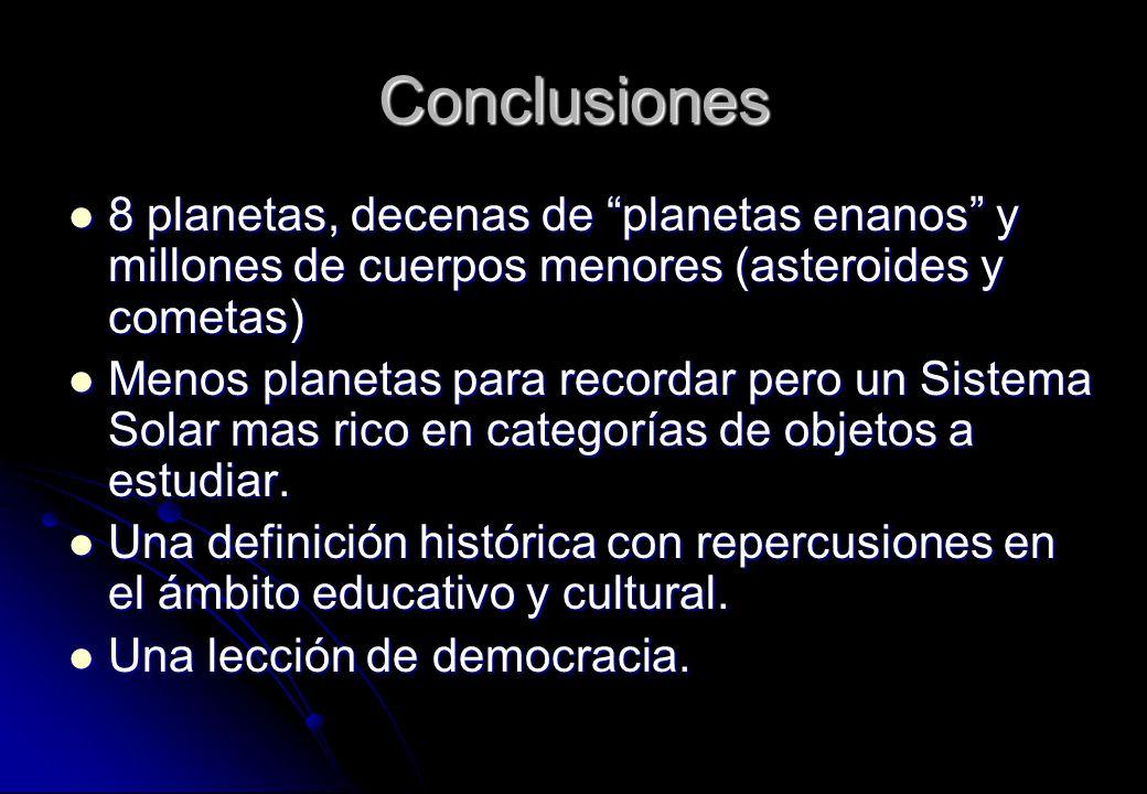 Conclusiones 8 planetas, decenas de planetas enanos y millones de cuerpos menores (asteroides y cometas) 8 planetas, decenas de planetas enanos y mill