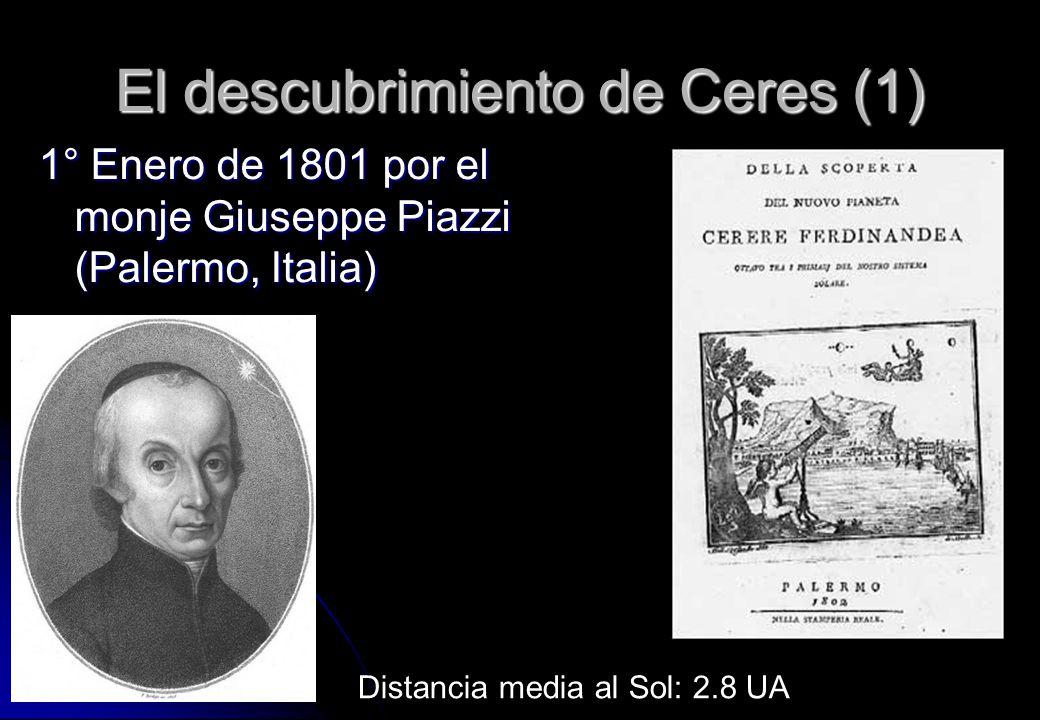 El descubrimiento de Ceres (1) 1° Enero de 1801 por el monje Giuseppe Piazzi (Palermo, Italia) Distancia media al Sol: 2.8 UA