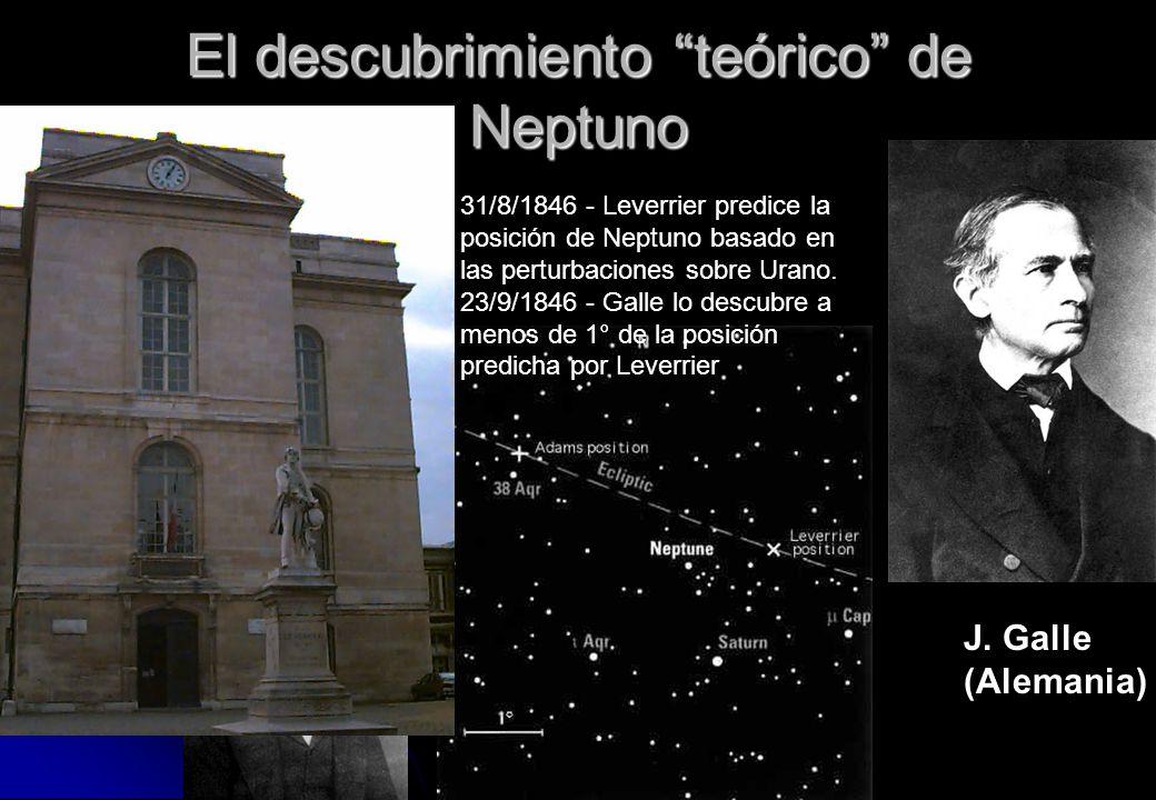 El descubrimiento teórico de Neptuno U. Leverrier (Francia) J. Adams (Inglaterra) J. Galle (Alemania) 31/8/1846 - Leverrier predice la posición de Nep