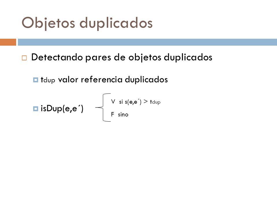 Objetos duplicados Detectando pares de objetos duplicados t dup valor referencia duplicados isDup(e,e´) V si s(e,e´) > t dup F sino
