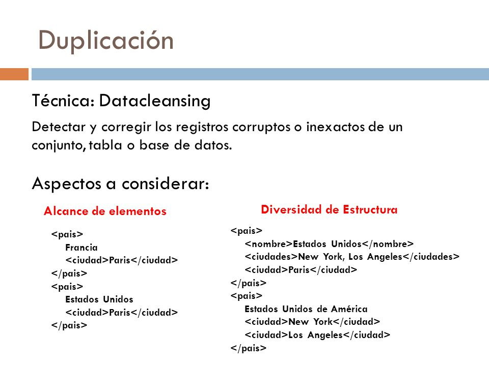 Duplicación Técnica: Datacleansing Detectar y corregir los registros corruptos o inexactos de un conjunto, tabla o base de datos. Aspectos a considera