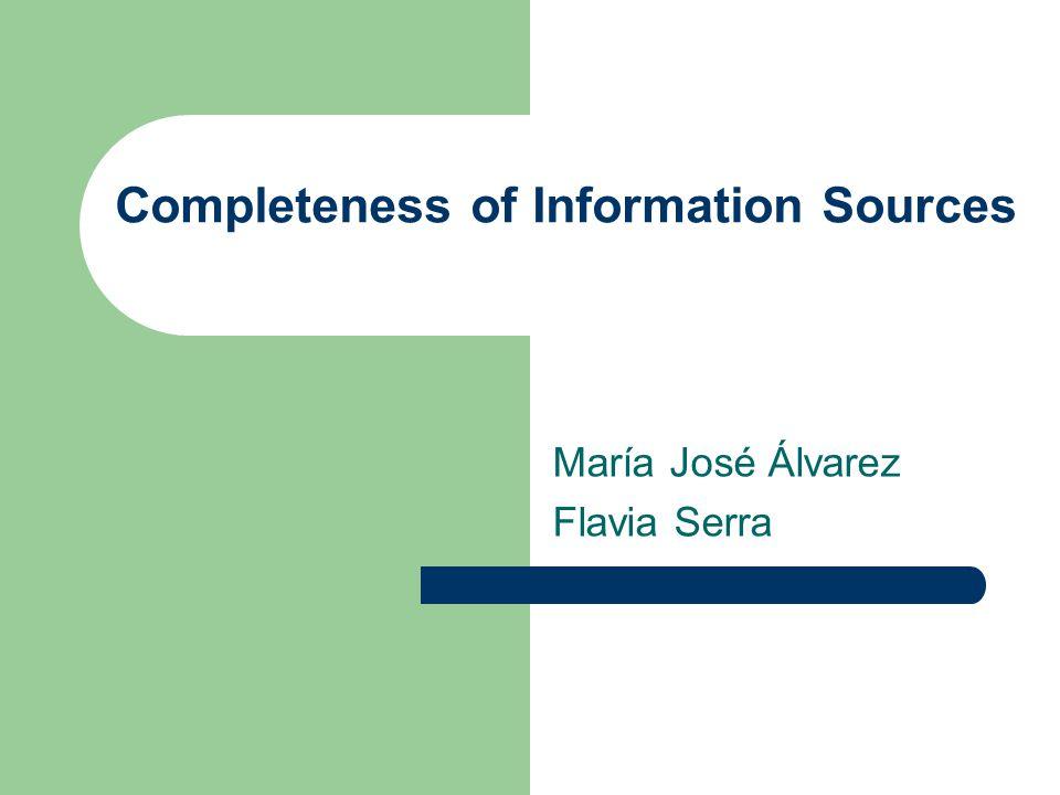 Agenda Introducción Modelo de información Unión de resultados Definición de los factores de calidad, Cobertura y Densidad Definición de la dimensión de calidad Completitud Conclusiones Puntos fuertes y débiles