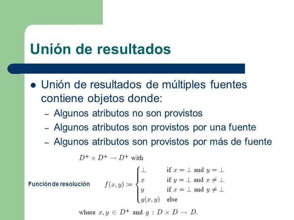 Unión de resultados Para presentar la unión de los resultados como una respuesta completa a una consulta y no como simples atributos se definen operadores relacionales.