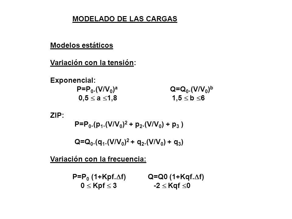 MODELADO DE LAS CARGAS Modelos estáticos Variación con la tensión: Exponencial: P=P 0.(V/V 0 ) a Q=Q 0.(V/V 0 ) b 0,5 a 1,8 1,5 b 6 ZIP: P=P 0.(p 1.(V/V 0 ) 2 + p 2.(V/V 0 ) + p 3 ) Q=Q 0.(q 1.(V/V 0 ) 2 + q 2.(V/V 0 ) + q 3 ) Variación con la frecuencia: P=P 0 (1+Kpf.