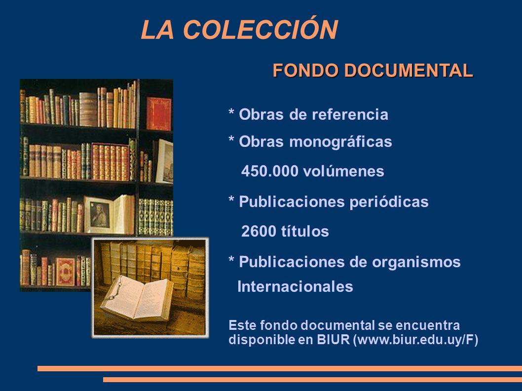 FONDO DOCUMENTAL LA COLECCIÓN * Obras de referencia * Obras monográficas 450.000 volúmenes * Publicaciones periódicas 2600 títulos * Publicaciones de