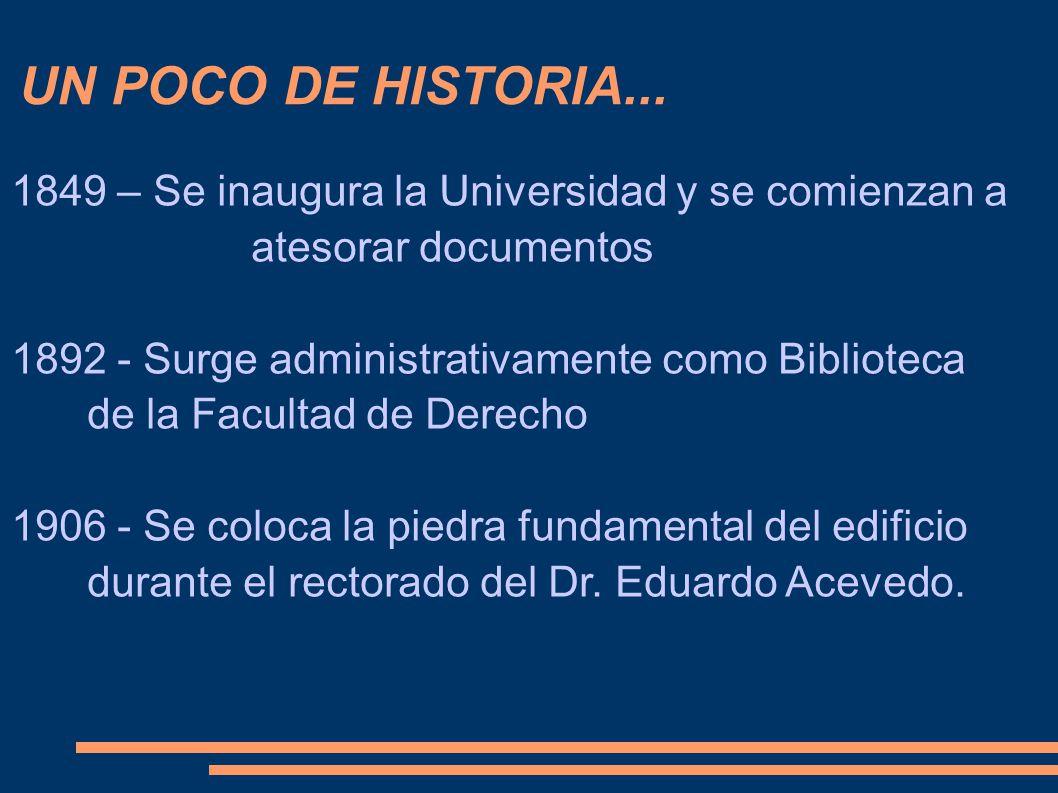 UN POCO DE HISTORIA... 1849 – Se inaugura la Universidad y se comienzan a atesorar documentos 1892 - Surge administrativamente como Biblioteca de la F