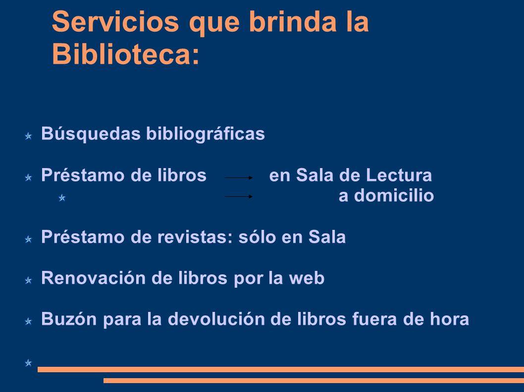 Servicios que brinda la Biblioteca: Búsquedas bibliográficas Préstamo de libros en Sala de Lectura a domicilio Préstamo de revistas: sólo en Sala Reno