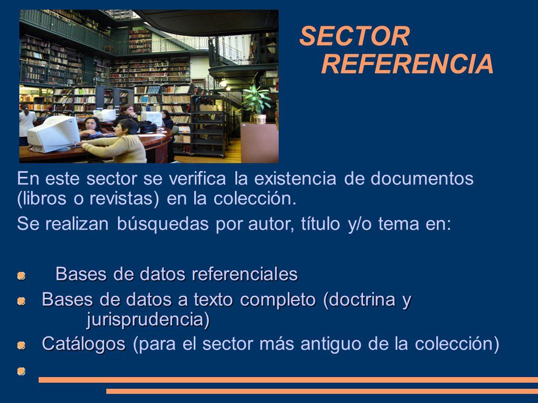 SECTOR REFERENCIA En este sector se verifica la existencia de documentos (libros o revistas) en la colección. Se realizan búsquedas por autor, título