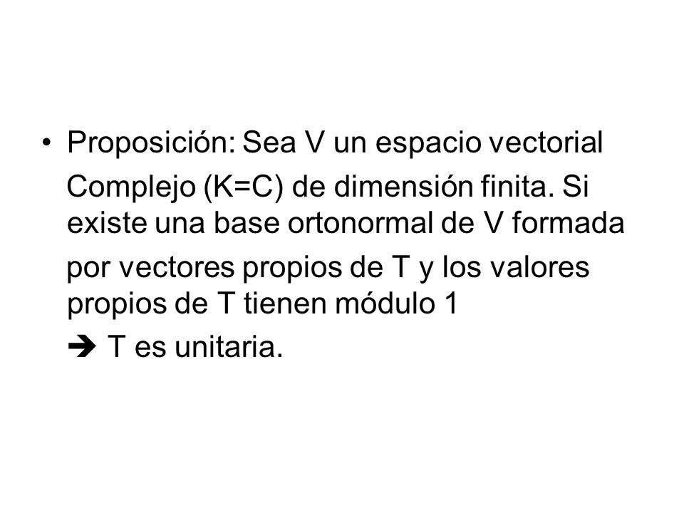Proposición: Sea V un espacio vectorial Complejo (K=C) de dimensión finita.
